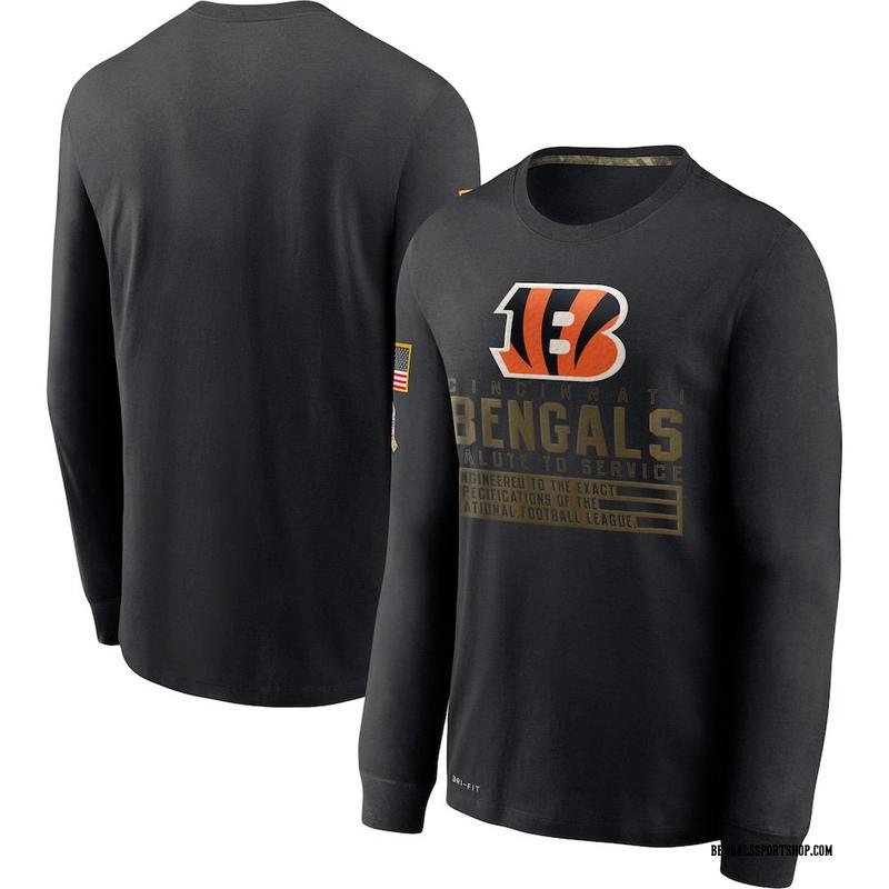 Men's Nike Cincinnati Bengals Black 2020 Salute to Service Sideline Performance Long Sleeve T-Shirt -