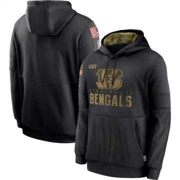 Men's Cincinnati Bengals Black 2020 Salute to Service Sideline Performance Pullover Hoodie -