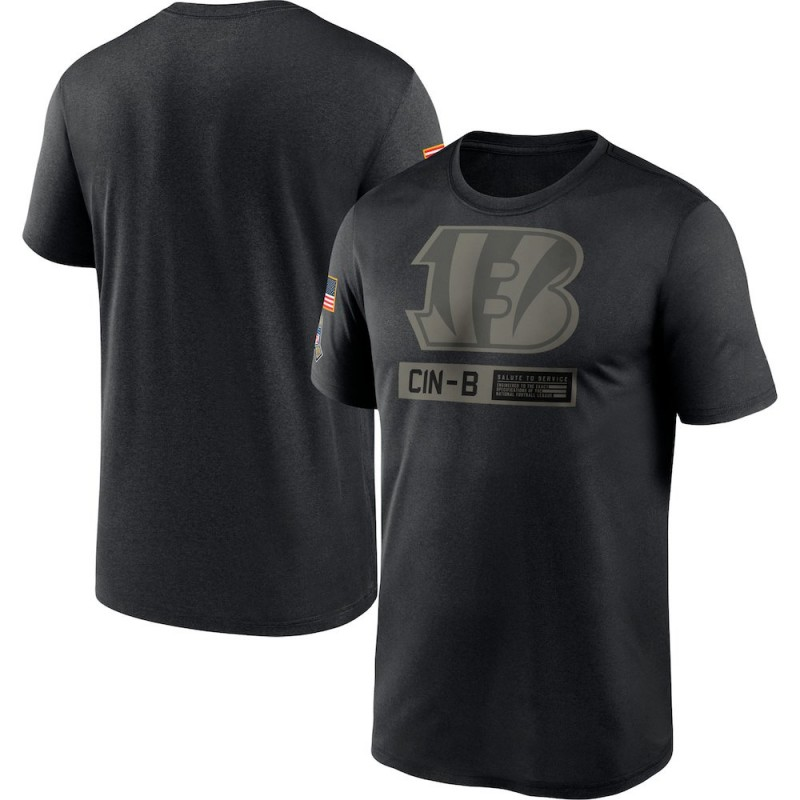 Men's Nike Cincinnati Bengals Black 2020 Salute to Service Team Logo Performance T-Shirt -