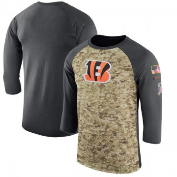 Men's Cincinnati Bengals Camo /Anthracite Salute to Service 2017 Sideline Performance Three-Quarter Sleeve T-Shirt - Legend