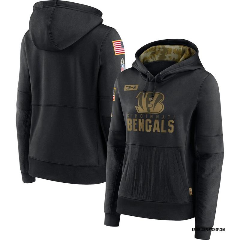 Women's Nike Cincinnati Bengals Black 2020 Salute to Service Performance Pullover Hoodie -