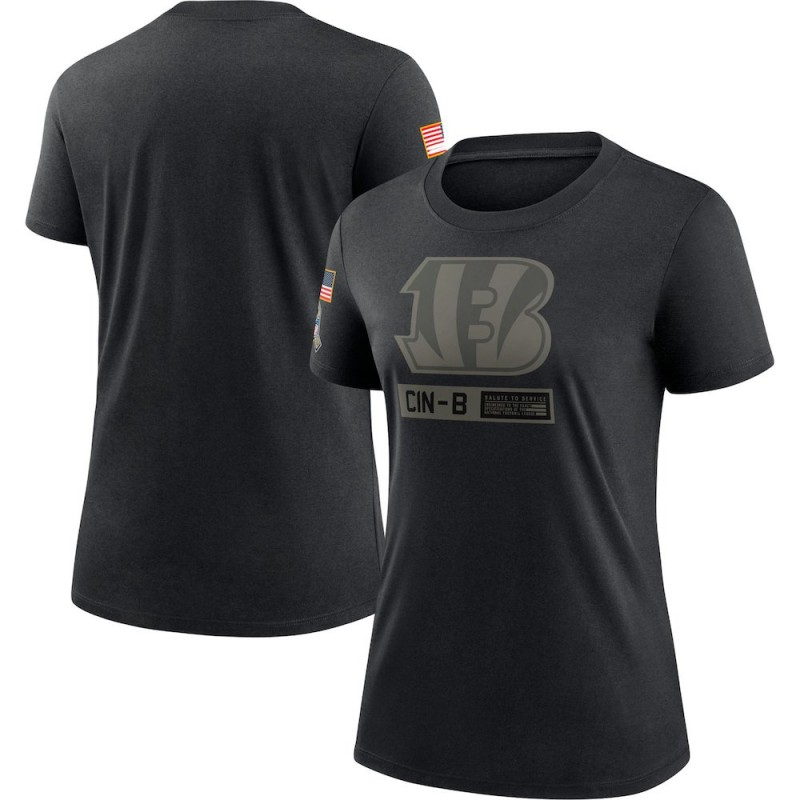 Women's Nike Cincinnati Bengals Black 2020 Salute To Service Performance T-Shirt -