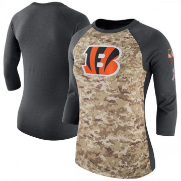 Women's Cincinnati Bengals Camo /Charcoal Salute to Service 2017 Three-Quarter Raglan Sleeve T-Shirt - Legend