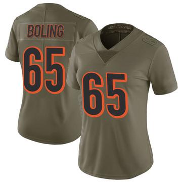 Women's Nike Cincinnati Bengals Clint Boling Green 2017 Salute to Service Jersey - Limited