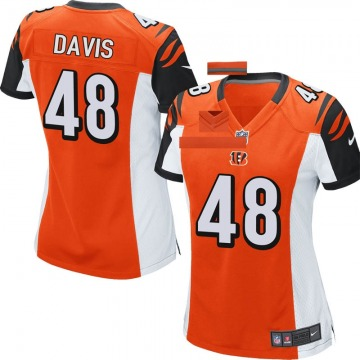 Women's Nike Cincinnati Bengals Deshaun Davis Orange Jersey - Game