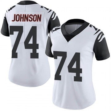 Women's Nike Cincinnati Bengals Fred Johnson White Color Rush Vapor Untouchable Jersey - Limited