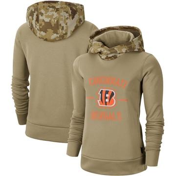 Women's Nike Cincinnati Bengals Khaki 2019 Salute to Service Therma Pullover Hoodie -