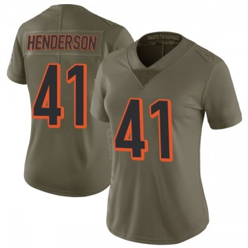 Women's Nike Cincinnati Bengals Trayvon Henderson Green 2017 Salute to Service Jersey - Limited