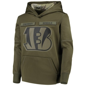 Youth Nike Cincinnati Bengals Green 2018 Salute to Service Pullover Performance Hoodie -